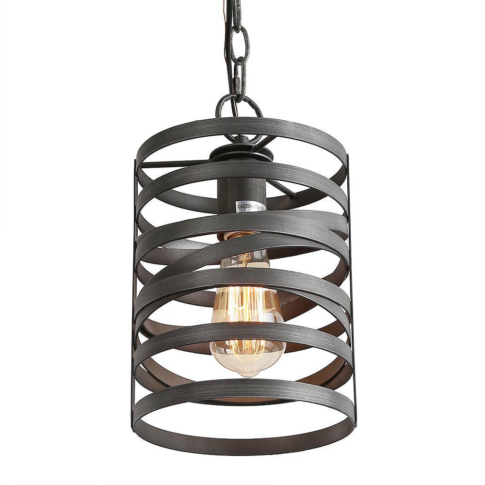 Moc 1-Light 7.1 in. Classic Brushed Dark Gray Modern Lantern Drum Mini Coastal  Pendant Light LED Compatible