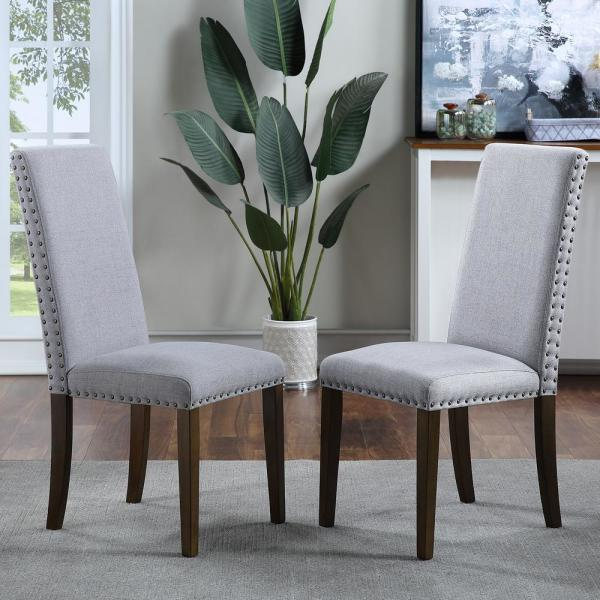 Light Grey Upholstered Dining Chairs (Set of 2)