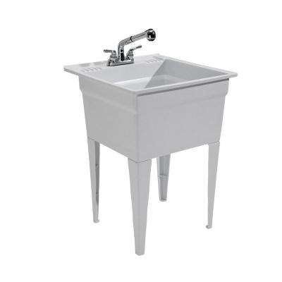 Heavy-Duty Sink 23.75 in. W x 24.75 in. D x 32.5 in. H Polypropylene Free Standing Sink