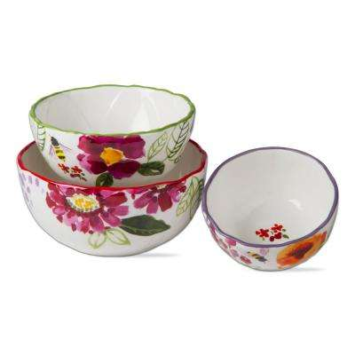 Multi-Sized 3-Piece Fresh Flowers Bowl Set