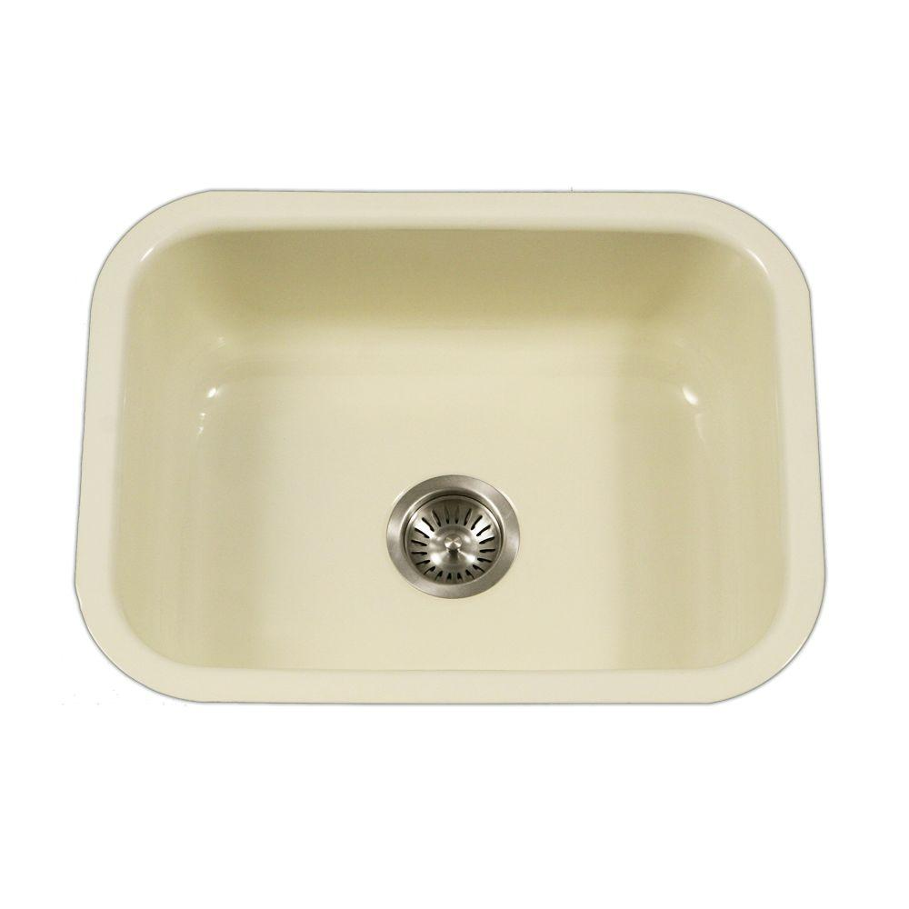 Houzer porcela series undermount porcelain enamel steel 23 in single bowl kitchen sink in - Bq kitchen sinks ...