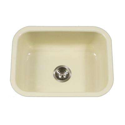 Porcela Series Undermount Porcelain Enamel Steel 23 in. Single Bowl Kitchen Sink in Biscuit