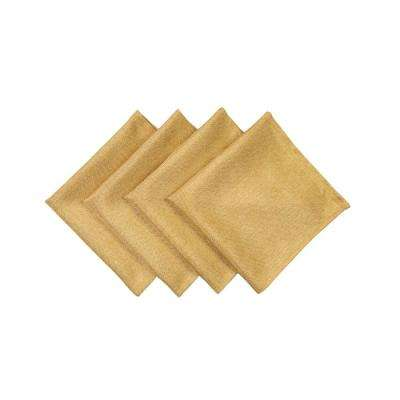 Gala Glistening 20 in. x 20 in. Easy Care Solid Color Napkins in Gold (Set of 4)