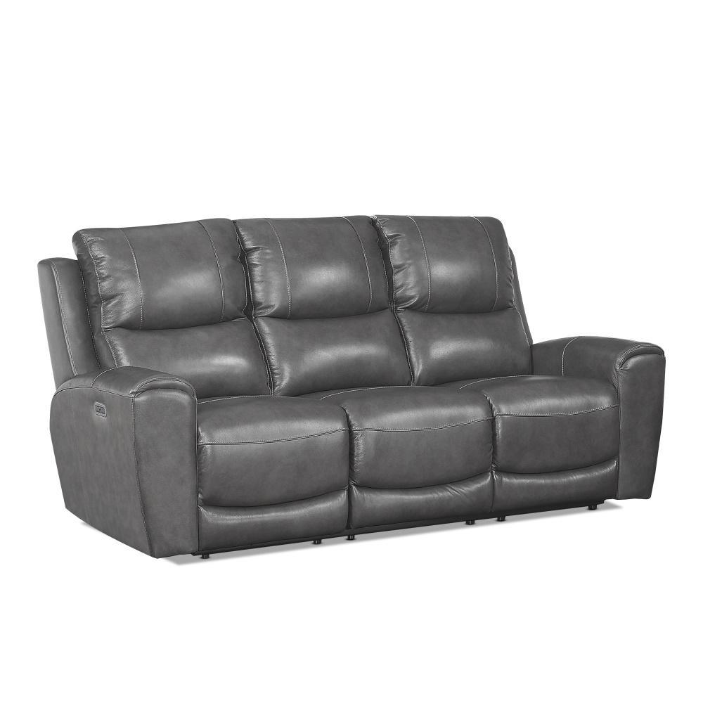 Steve Silver Grey Leather Polyurethane Power Reclinin Sofa