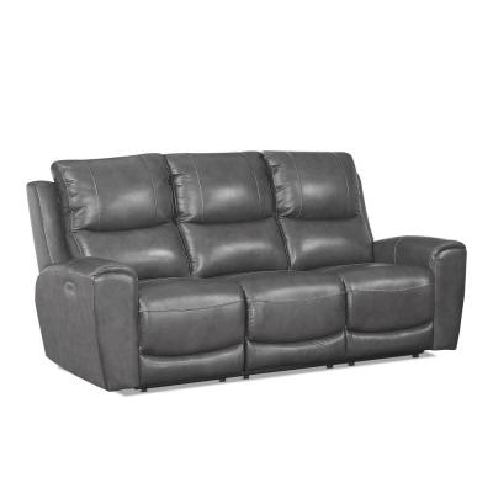 Laurel 3-Seat Grey Leather And Polyurethane Power Reclining Sofa