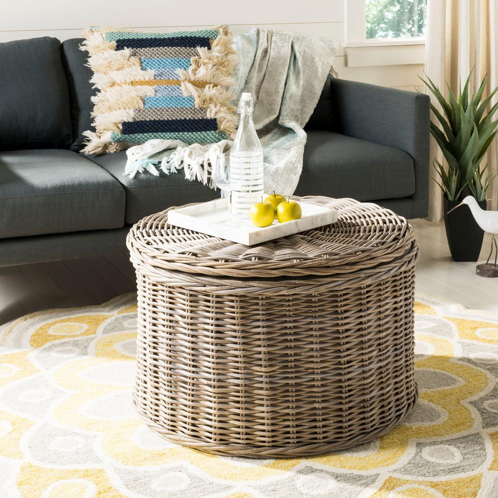 Lowes Wicker Coffee Table: Safavieh Jesse Wicker Storage Gray Coffee Table-SEA7034B