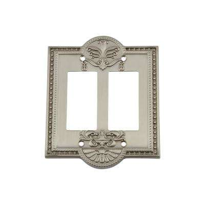 Meadows Switch Plate with Double Rocker in Satin Nickel