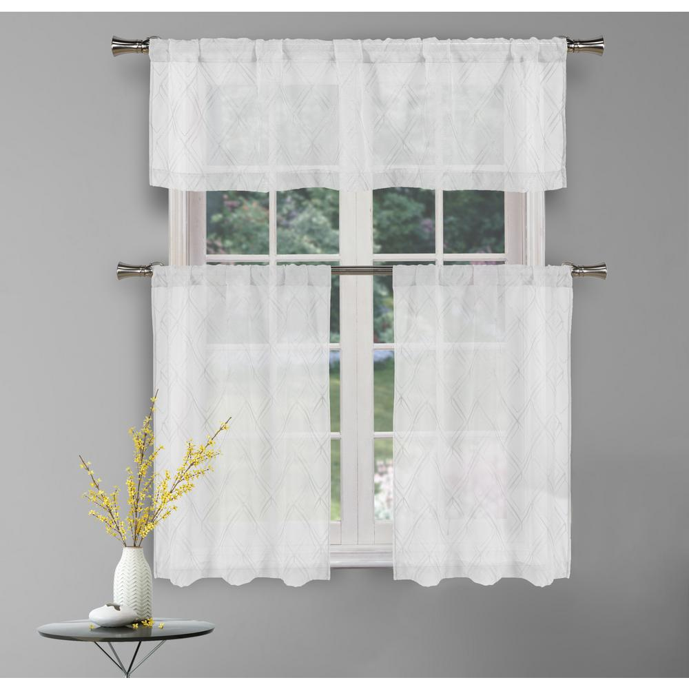 Kensie Adley White Kitchen Curtain Set 58 In W X 15 In L 3 Piece