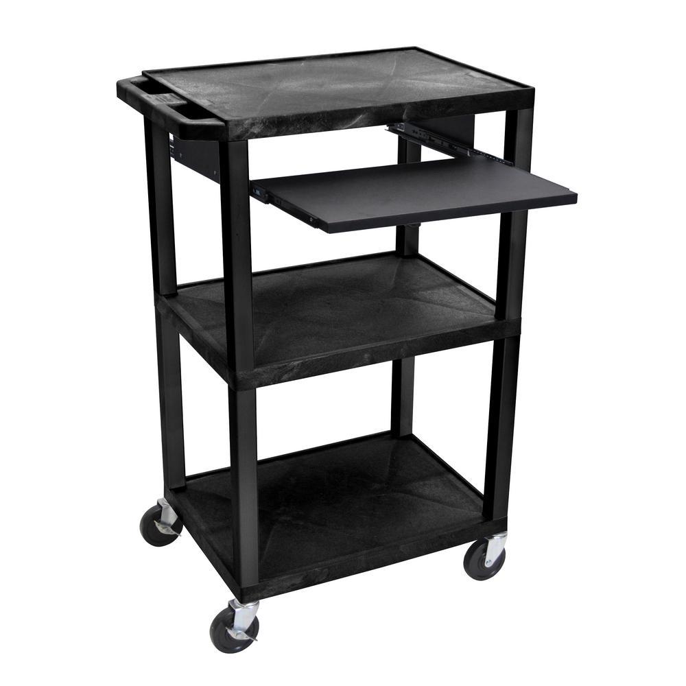 Tuffy 42 ft. in - 3 Shelf Utility Cart - Black