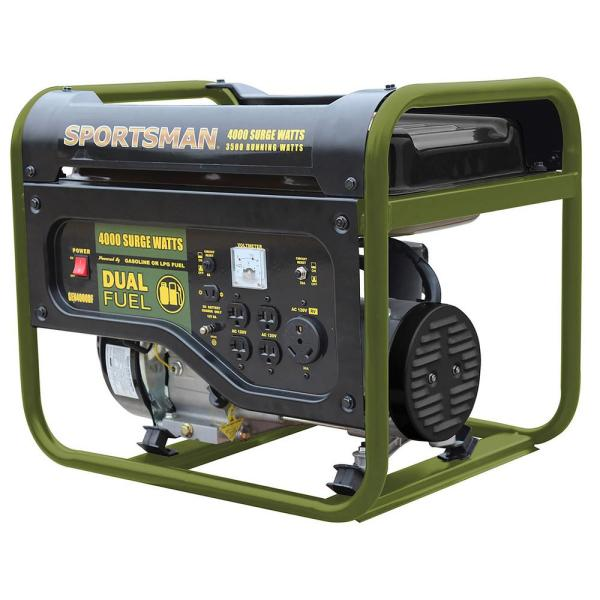 Sportsman 4 000 3 500 Watt Dual Fuel Powered Portable Generator Runs On Lpg Or Regular Gasoline 803266 The Home Depot