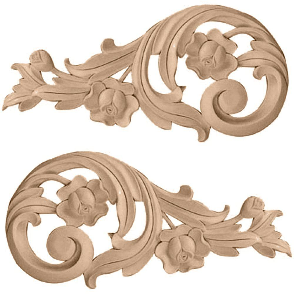 Ekena Millwork 1/2 in. x 7-1/2 in. x 3-1/2 in. Unfinished Wood Alder Small Rose Scrolls