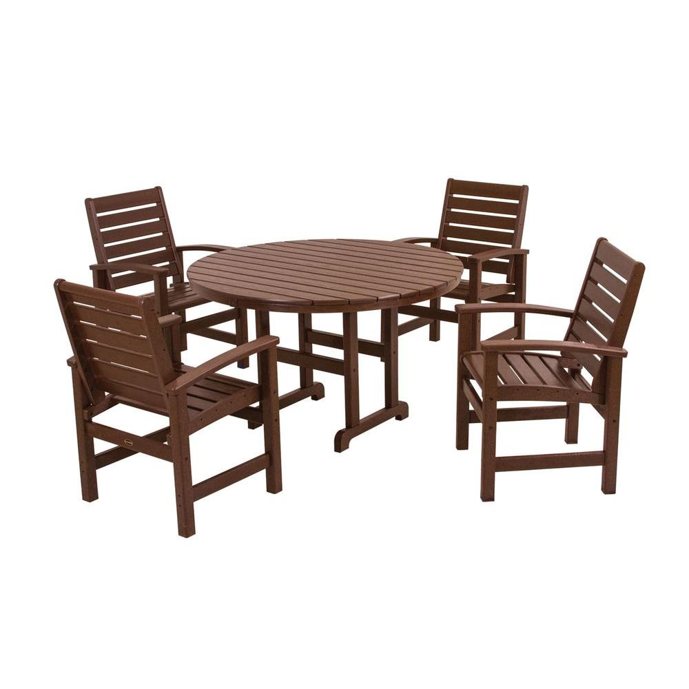 Signature Mahogany 5 Piece Plastic Outdoor Patio Dining Set
