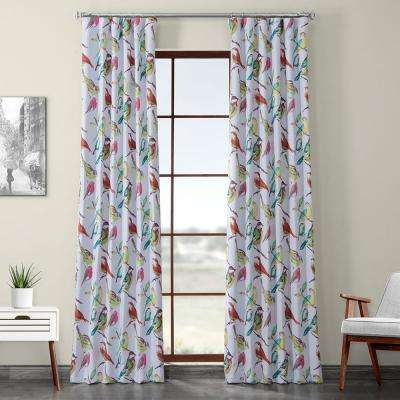 Housefinch Multi-Colored Printed Linen Textured Blackout Curtain - 50 in. W x 120 in. L (1-Panel)