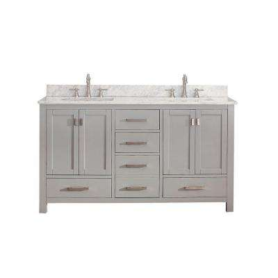 Modero 61 in. W x 22 in. D x 35 in. H Vanity in Chilled Gray with Marble Vanity Top in Carrera White and White Basins