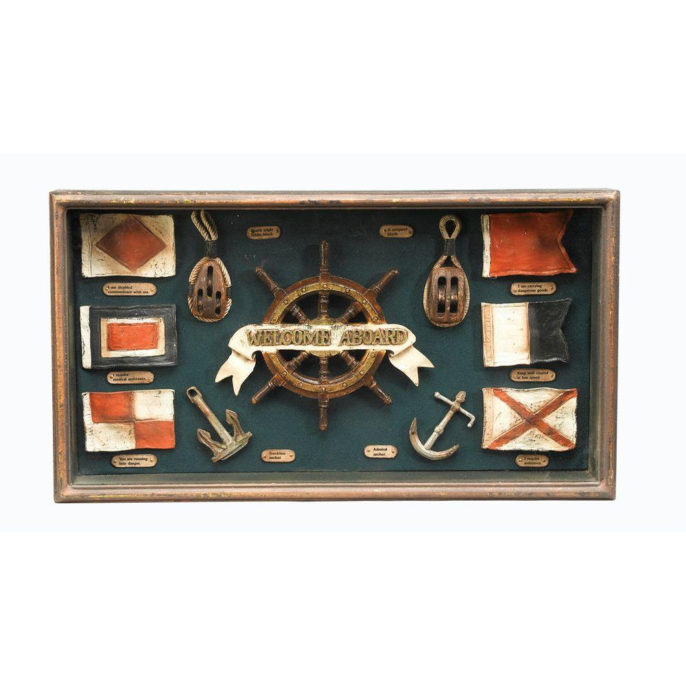 Antique Reproductions 12 in. Nautical Flag Shadow Box