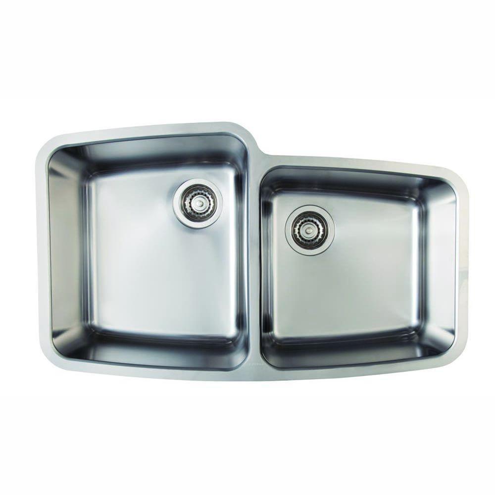 Blanco Performa Undermount Stainless Steel 33.13 in. 0-Hole Medium 1-3/4 Basin Kitchen Sink