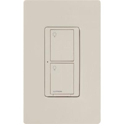 Caseta Wireless Smart Lighting Switch for All Bulb Types or Fans, Light Almond