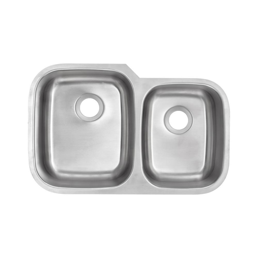 Glacier Bay Undermount 16-Gauge Stainless Steel 32 in. 0-Hole 60/40 Double Bowl Kitchen Sink