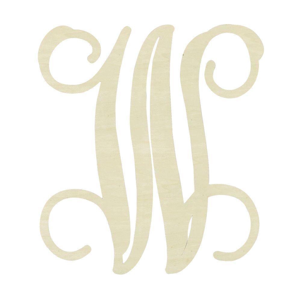 19.5 in. Unfinished Single Vine Monogram (W)