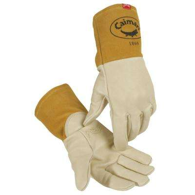 Large Beige Ergonomic Cow Grain MIG Welding Gloves Unlined