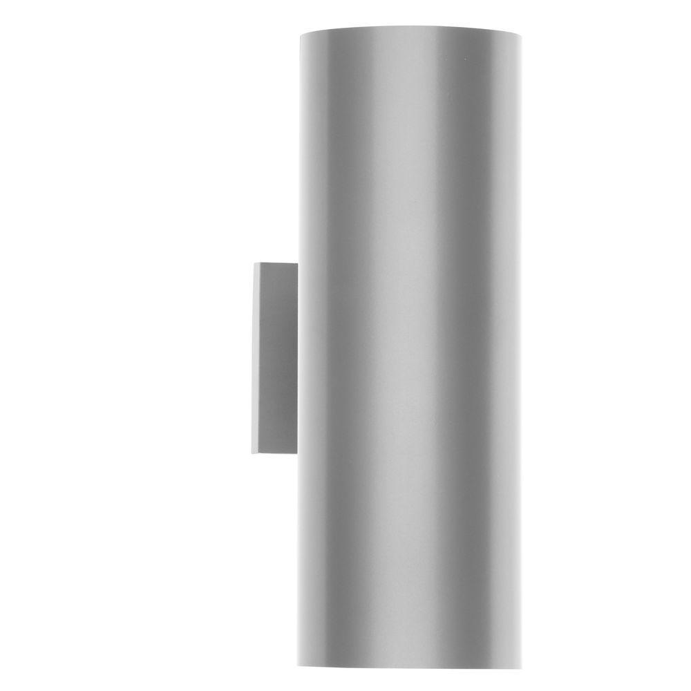 2-Light Metallic Gray 14 in. Outdoor Wall Lantern