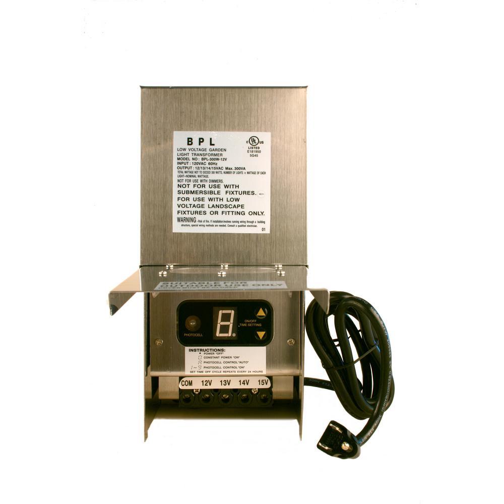 Low Voltage Multi-Tap 300-Watt 12-15 Volt Stainless Steel Landscape Lighting Transformer