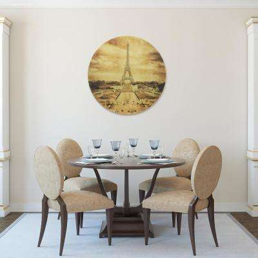 """Eiffel Tower"" Circular Gold Canvas Giclee Printed on 2"" Wood Stretcher Wall Art"