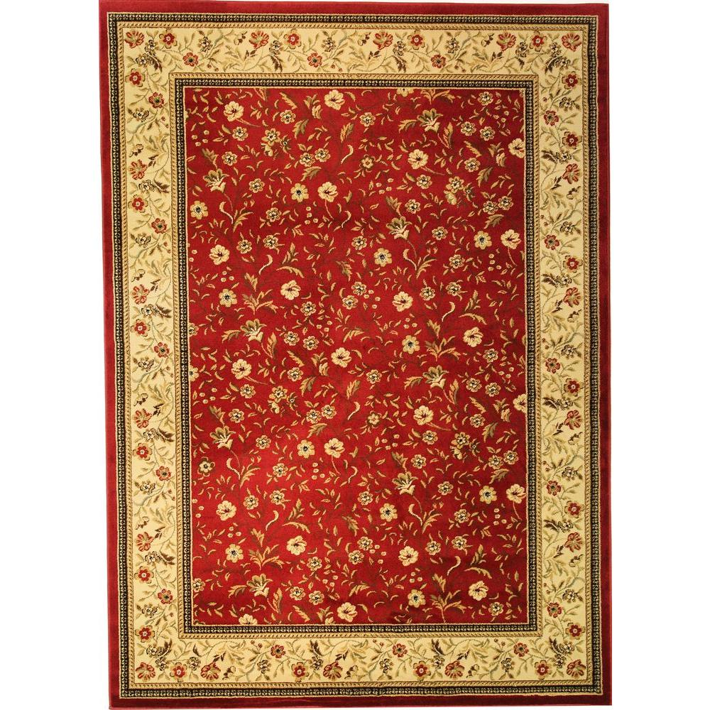 Well Woven Barclay Rosas Bouquet Red 6 ft. 7 in. x 9 ft. 6 in. Transitional Border Area Rug