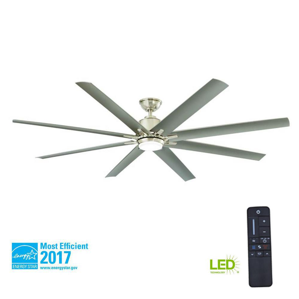 72 ceiling fan downrod home decorators collection kensgrove 72 in led indooroutdoor brushed nickel ceiling fan with