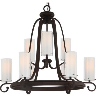 Regina 9-Light Antique Bronze Indoor Hanging Chandelier with Clear Glass (Outer) and White Glass (Inner) Cylinder Shades
