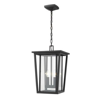 2-Light Black Outdoor Pendant Light with Clear Glass Shade