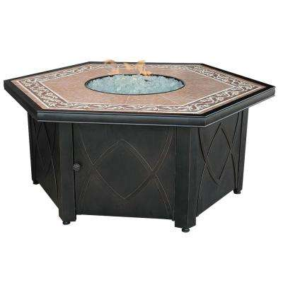 55 in. Hex Gas Fire Bowl with Tile Mantel
