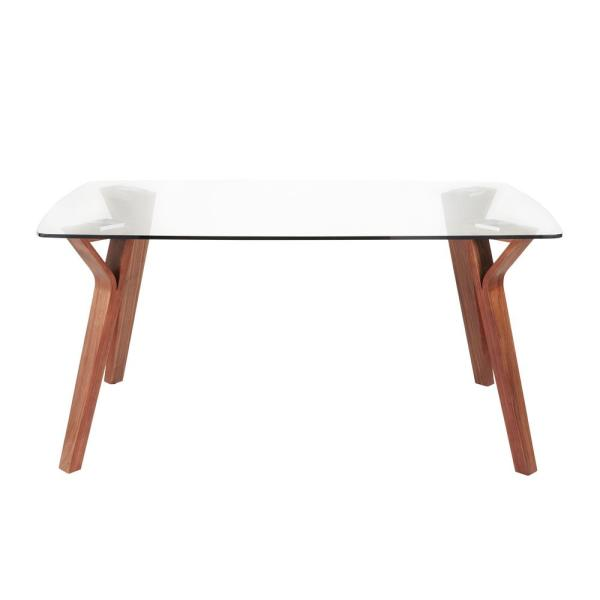 Folia Rectangular Walnut Wood Dining Table with Clear Glass Top