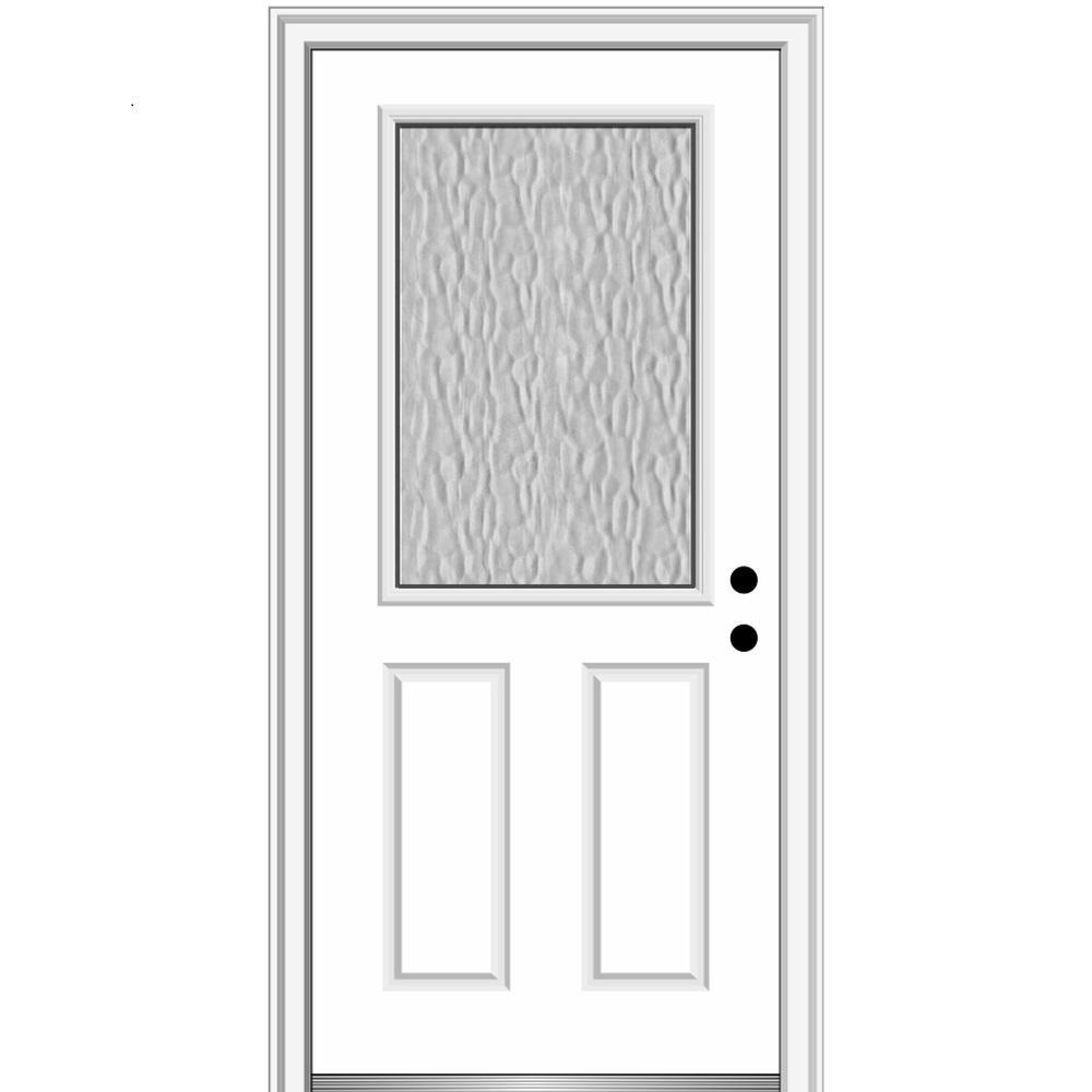 Mmi Door Vapor 32 In X 80 In Left Hand Inswing 1 2 Lite 2 Panel Primed Fiberglass Prehung Front Door With 4 9 16 In Frame Z0372931l The Home Depot