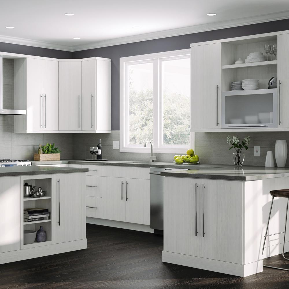 Hampton Bay Designer Series Edgeley Assembled 36x36x12 in. Wall Open Shelf  Kitchen Cabinet in Glacier