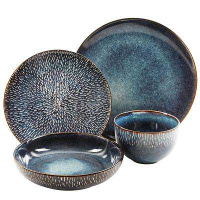 Matisse 16-Piece Cobalt Double Bowl Dinnerware Set