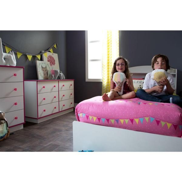 South Shore Logik 4-Drawer Pure White and Pink Chest
