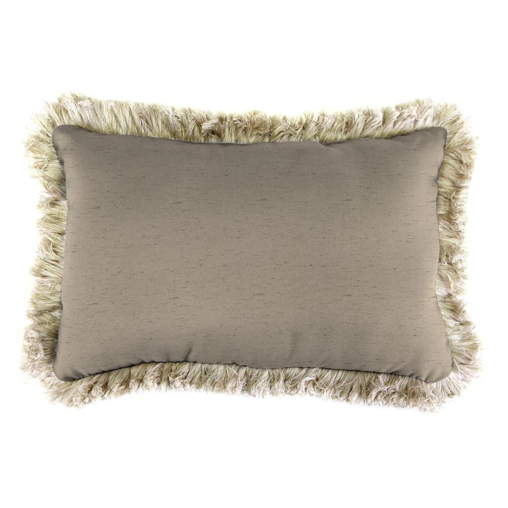 Jordan Manufacturing Sunbrella 9 in. x 22 in. Frequency Sand Lumbar Outdoor Pillow with Canvas Fringe