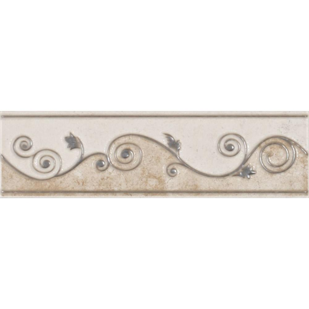 ELIANE Melbourne Sand 3 In X 8 Ceramic Listello Wall