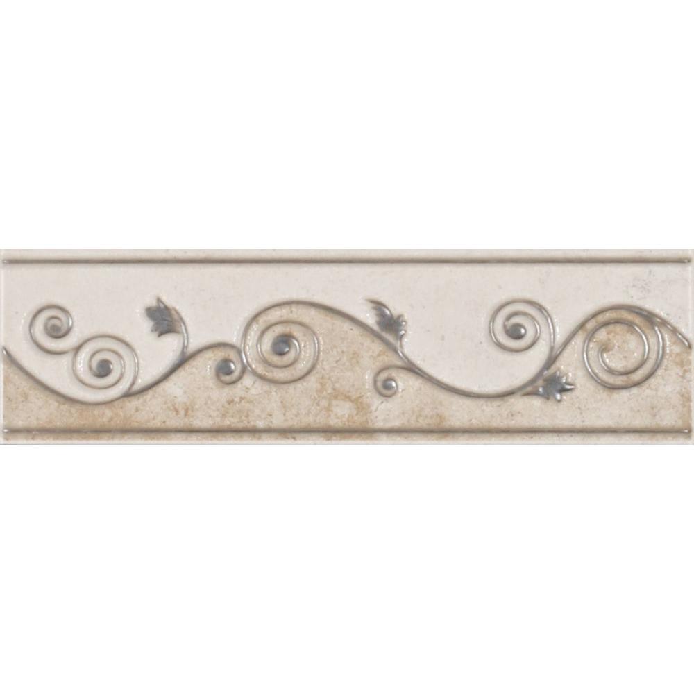 ELIANE Melbourne Sand 3 in. x 8 in. Ceramic Listello Wall Tile