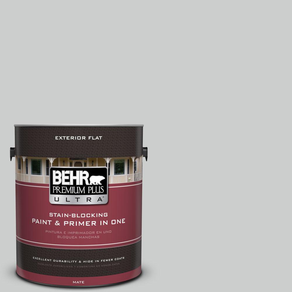 BEHR Premium Plus Ultra 1-gal. #N460-2 Planetary Silver Flat Exterior Paint
