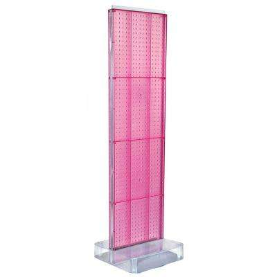 60 in. H x 16 in. W 2-Sided Pegboard Floor Display on Studio Base in Pink