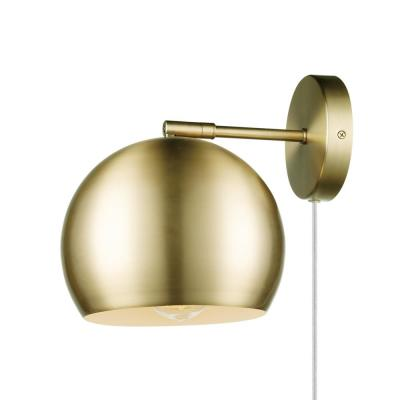 1-Light Plug-in or Hardwire Matte Brass Wall Sconce with White Fabric Cord and Inline On/Off Rocker Switch