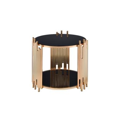 Tanquin Black Glass and Gold End Table