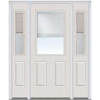 60 in. x 80 in. Internal Blinds Left-Hand 1/2-Lite Clear Painted Fiberglass Smooth Prehung Front Door with Sidelites