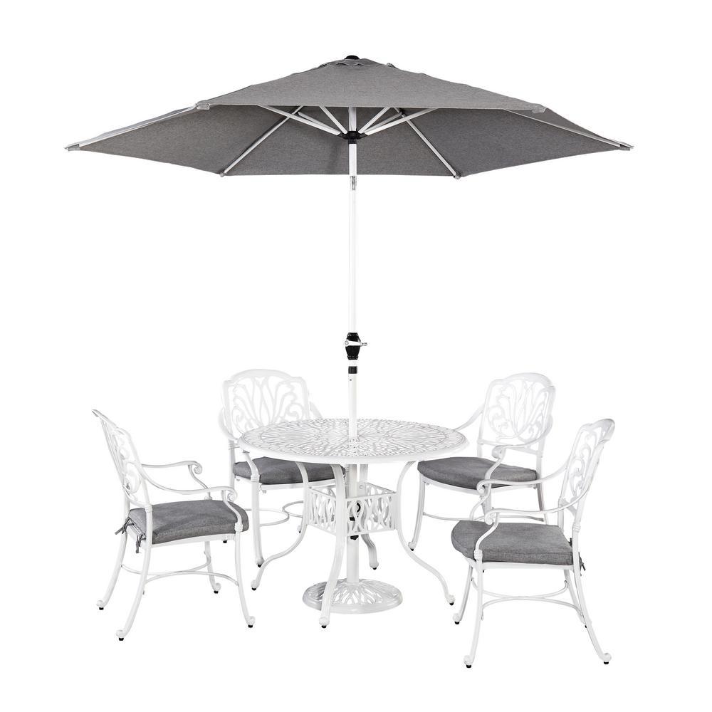 Home Styles Fl Blossom White 5 Piece Patio Dining Set With Umbrella