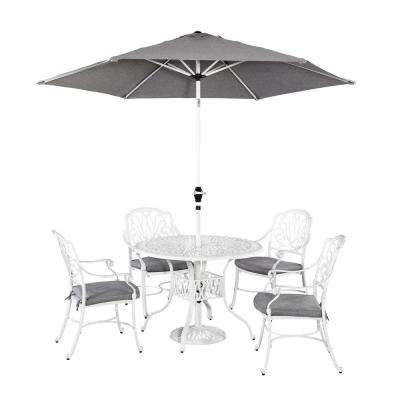 Floral Blossom White 5-Piece Patio Dining Set with Umbrella