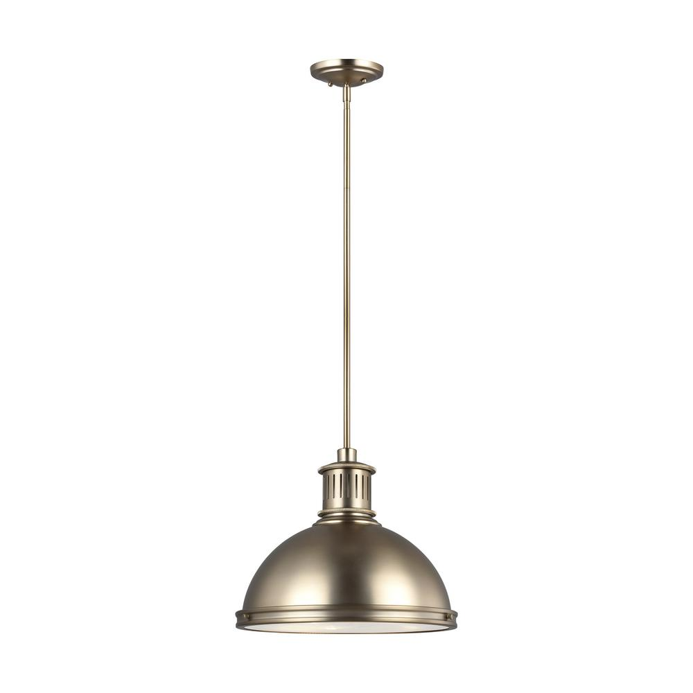 Sea Gull Lighting Pratt Street Metal 1 Light 16 In 28 Watt Satin Bronze Integrated Led Pendant