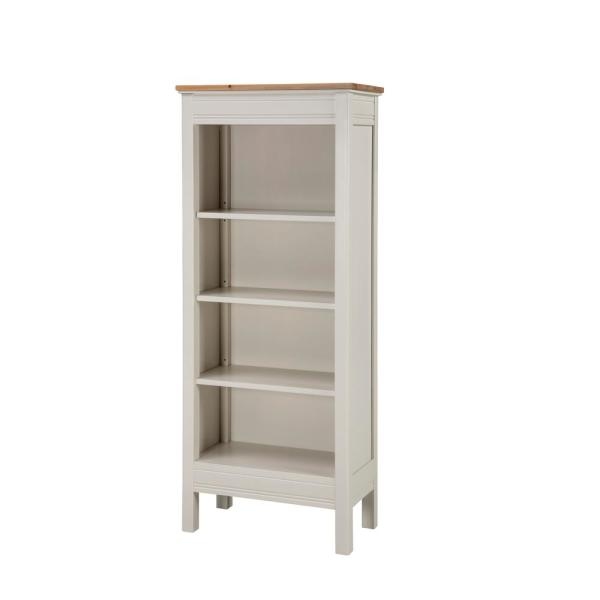 Savannah Ivory with Natural Wood Top Tall Bookcase