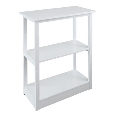 34 in. White Wood 3-shelf Etagere Bookcase